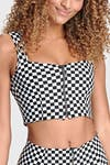 Checkered Crop Top with Zip - Black + White 6