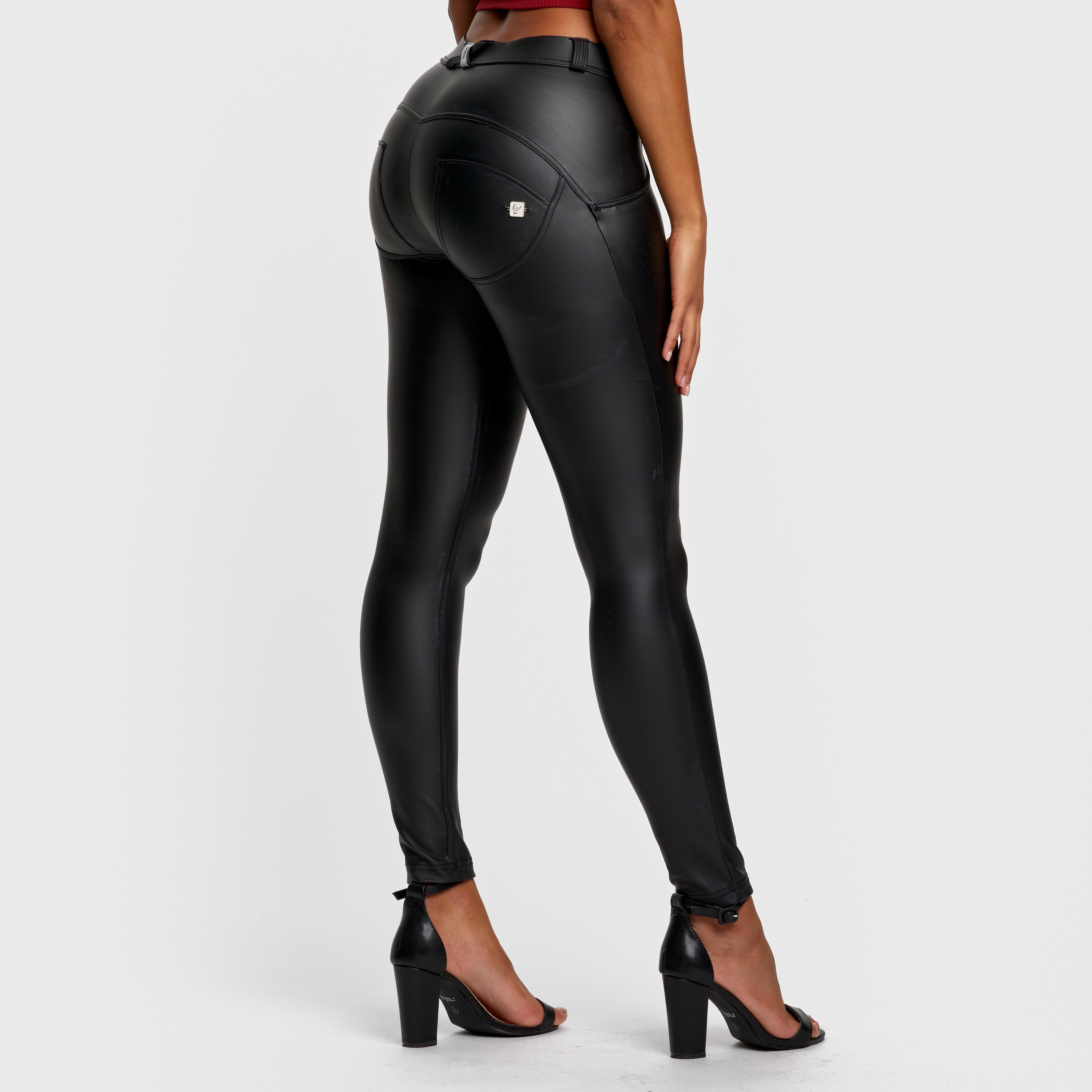 Freddy WR.UP Black Faux Leather Pants | High Waist, Full